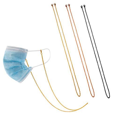 TOYMIS 3-teiliger Masken halter Kette Halskette Metall Brille Halter für Maske Riemen Extender Kette (Gold, Pink, Schwarz)