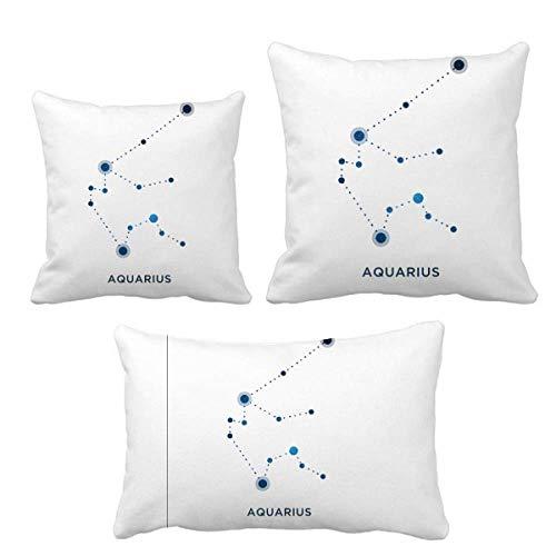 DIYthinker Aquarius Signo de constelación del zodiaco Juego de almohadas de cojín de relleno para el hogar, sofá, decoración de regalo