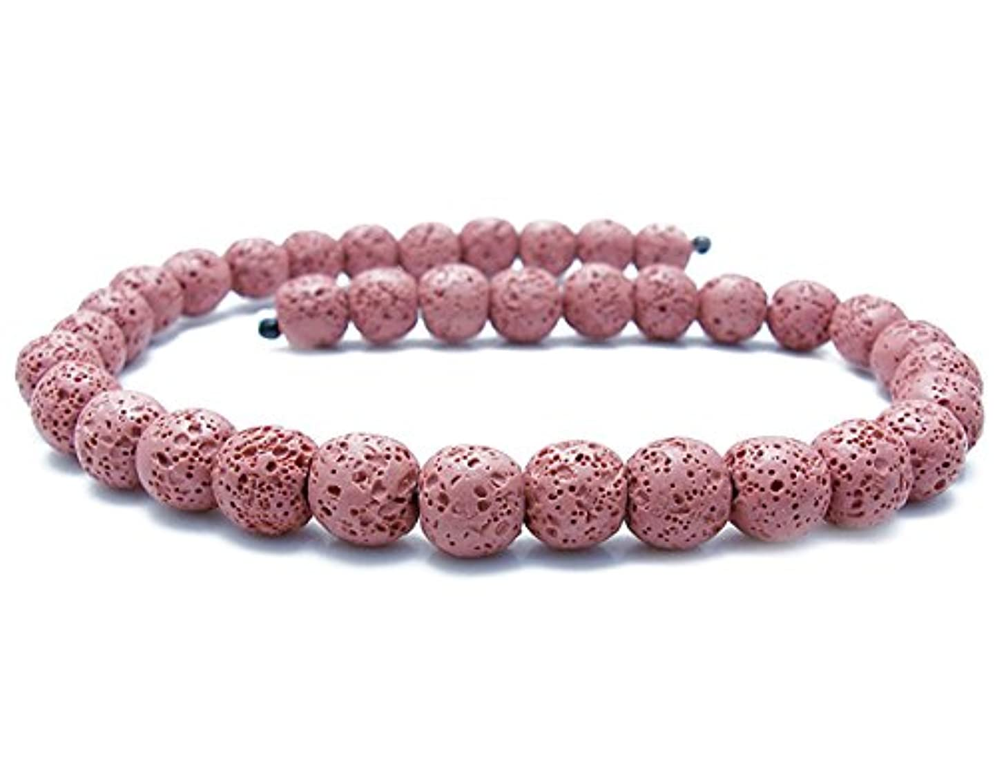Smooth Lava Stone Loose Beads - Coloured Round Lava Rock Beads Volcanic Gemstone for DIY Handmade Jewelry Making Beaded Necklace Bracelet (Pink, 6mm)