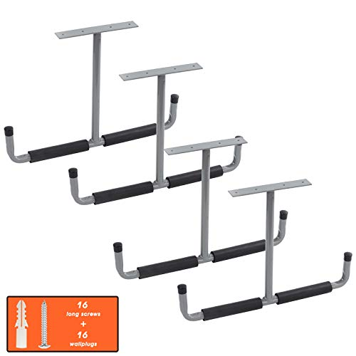 Overhead Garage Storage Rack, 16.5 Inch Heavy Duty Ceiling Double Storage Hooks Utility Hanger for Hanging Lumber Ladder Tool Bike & Other Bulky Items (4 Pack, Grey)