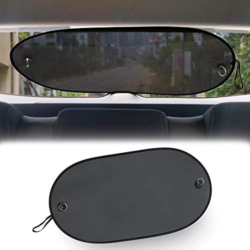 EcoNour Car Rear Windshield Sunshade | Screen Mesh Cover | Universal Mesh Back Window Visor with Suction Cup | UV/Sun/Glare Protection for Baby Fit for Car/SUV/Truck Large (40' x 20')
