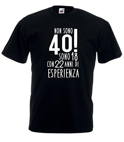 Settantallora - T-Shirt Maglietta J2501 Non Sono 40 ma 18 con 22 Anni di Esperienza! Taglia M