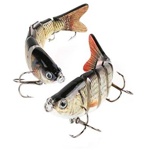 Scotamalone Fishing Lures Bass Trout Lures 2 Pack 6 Segment Tackle 6# High Carbon Steel Anchor Hook Lifelike Multi Jointed Artificial Swimbait Hight Quality Hard Bait 4Inches/0.68Oz
