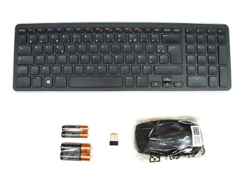 Genuine Original DELL KM713 Wireless Cordless SLIM and Stylish Keyboard & Mouse Set Combo Kit , AZERTY Layout for FRENCH FRANCAIS Language , Dell P/N : 4P5DD , R0C5N , Complete with USB Receiver and 4 x Duracell batteries