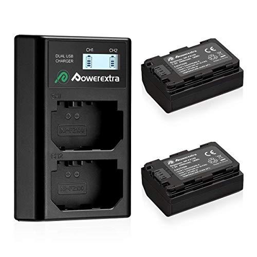 Powerextra Reemplazo Sony NP-FZ100 2 Baterias con Carcador Pantalla LCD para Sony NP FZ100 y Sony Alpha 9 Sony A9 Sony Alpha 9R Sony A9R Sony Alpha 9S Sony A9R Sony A7R3 Cámaras Digitales