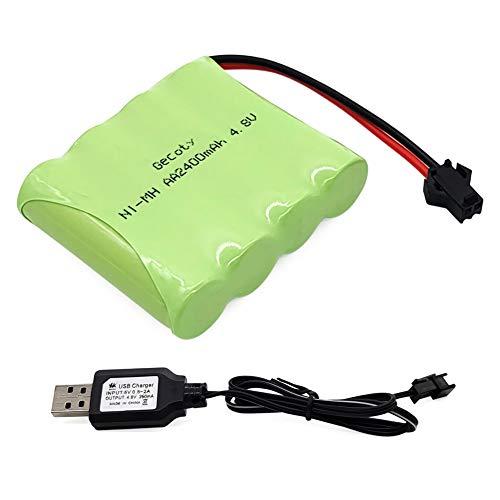 Gecoty® 4,8V 2400mAh NiMH RC Akku Wiederaufladbare Batterien AA mit USB-Ladekabel, SM 2P-Stecker für ferngesteuertes Spielzeug, Elektrowerkzeuge und Haushaltsgeräte