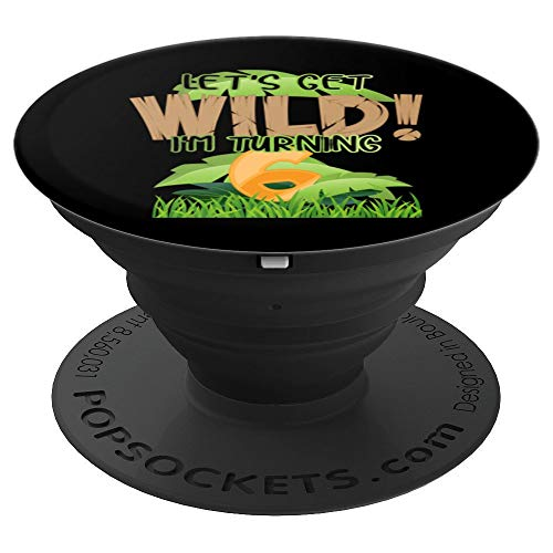 Cute Jungle Safari 6th Birthday Gift 6 Years Old Boys Girls PopSockets Grip and Stand for Phones and Tablets
