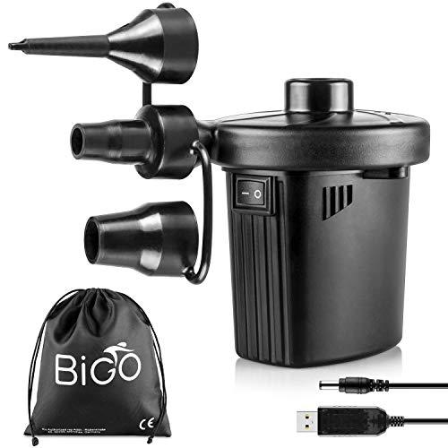 BIGO Elektrische Luftpumpe USB Luftmatratze Pumpe, 2 in 1 Elektropumpe Power Pump Inflator Deflator mit 3 Luftdüse für aufblasbare Matratze,Kissen,Bett,Boot,Schwimmring