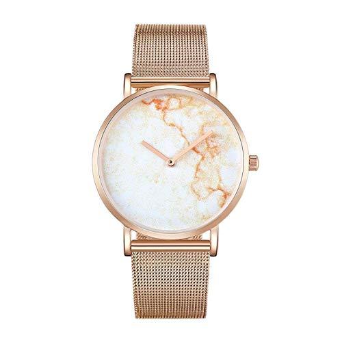 Strimm CAGARNY 6812 Reloj de cuarzo con esfera redonda de aleación de oro y carcasa de oro para hombres con correa de acero inoxidable