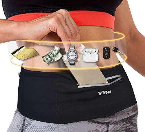 Tirrinia Unisex Running Belt Fanny Pack for iPhone 11 Pro X XS XR 6 7 8 Plus, Runner Workout Belt Waist Pack for Women and Men Walking Fitness Jogging Travel Black/Small