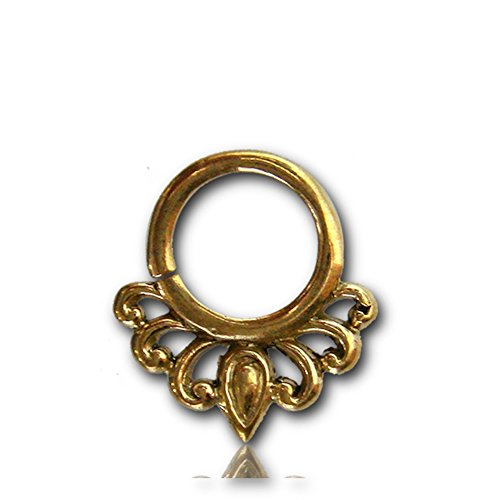 Chic-Net Septum Piercing Nasenringe Halbbögen Tropfen Messing 1-6 mm goldfarben nickelfrei antik exotisch Ohrring