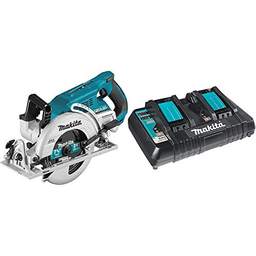 """Makita XSR01Z 18V X2 LXT Lithium-Ion 36V Brushless Cordless Rear Handle 7-1/4"""" Circular Saw, Tool Only with Makita DC18RD 18V Lithium-Ion Dual Port Rapid Optimum Charger (Renewed)"""