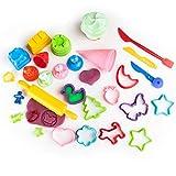 GenioKids Accessoires pour pâte à Modeler Outils modelage 30 Pièces activité pour Enfant moules pour pâte à Modeler Argile plastiline