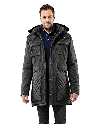 Vincenzo Boretti Herren Winter-Jacke dick warm gefüttert Parka kuschelig sportlich elegant Winter-Mantel Slim-fit tailliert lang für Outdoor Business mit Steh-Kragen und Kapuze anthrazit L