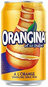 Orangina Sparkling Orange Drink - 24 x 330ml Cans - Orange Flavour Juice Drink with Real Orange Pulp - Made with Sugar and Sweeteners - No Added Colours - Serve Cold & Enjoy