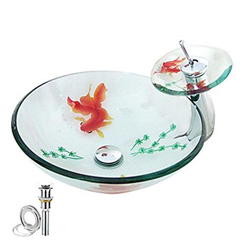 HomeLava Modern Gehärtetes Glas Waschbecken mit Wasserfall Armatur Set (Transparent 2)