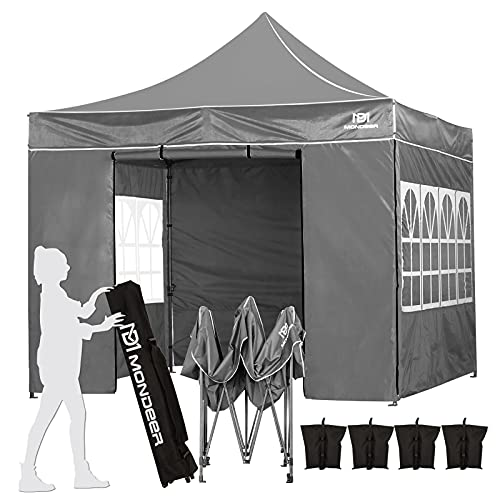 Mondeer Pop Up Gazebo, 3m x 3m Gazebo with 4 Sides, Waterproof and Anti-UV, Heavy Duty Shelter Tent Metal Steel Frame PU Coated, with 4 Sandbags and Carrying Bag for Outdoor Garden Patio Party (Grey)