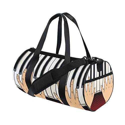 ZOMOY Sporttasche,Hände auf Klavier befestigt Comic Buch,Neue Druckzylinder Sporttasche Fitness Taschen Reisetasche Gepäck Leinwand Handtasche