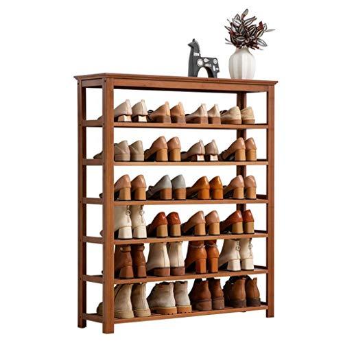 M-YN Zapatero 7-Nivel de bambú de Madera del Zapato Bastidores de Almacenamiento, Zapatos Estante Derecho Libre del gabinete, Soporte Organizador, por Pasillo, baño, Sala de Estar (Size : 80cm)