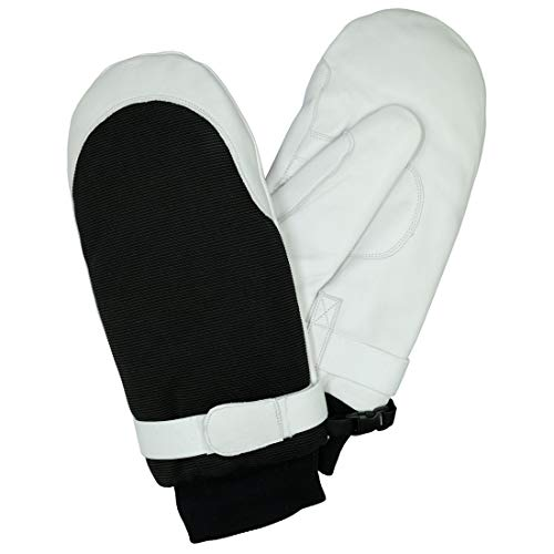 Harssidanzar Herren Outdoor Skihandschuhe Ziegenleder Thermolite Gefütterte Handschuhe Wasserdicht Fäustlinge, Weiß, L