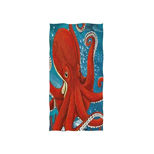 ALARGE Toalla de cara divertida y colorida toalla de mano de pulpo animal absorbente y duradera para el hogar, cocina, baño, playa, deporte, piscina, gimnasio, spa, toalla