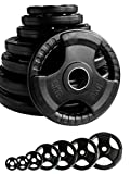 """Body Revolution Tri Grip Olympic Weight Plates – Black Rubber Radial Cast Iron Discs for 2"""" 50mm Barbells (1.25kg - 25kg Sets) (1.25kg Pair)"""