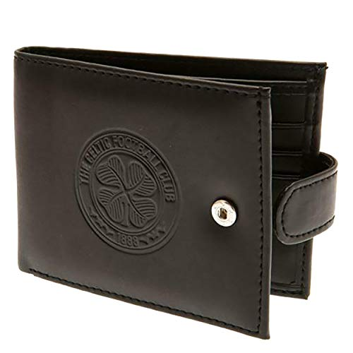 Celtic FC Mens Official RFID Embossed Leather Wallet (One Size) (Black)