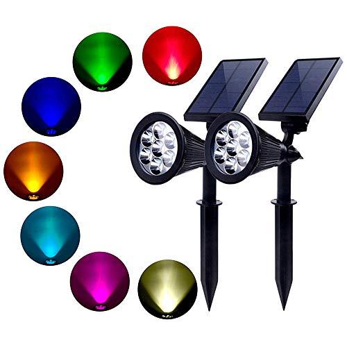 Xindaxin® Solar Gartenleuchten 7 Farben Superhelle Outdoor Spotlight LED IP65 Wasserdicht für Zaun Hinterhöfe Gärten Rasen,2 Stück