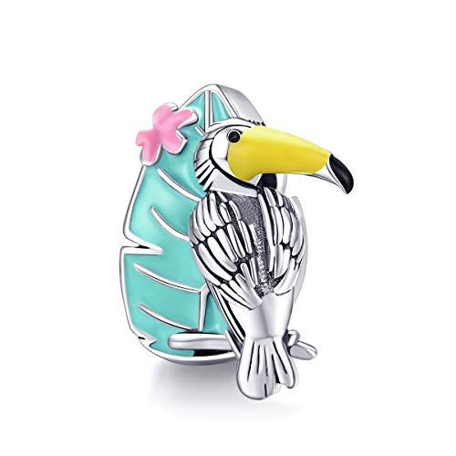 ABAOLALA I Love Summer Charm Heart Charm,925 925 Sterling Silver Holiday at The Beach Charm fit Fashion Pandora Style Bracelet (Green Leaves & Yellow beaked Bird)