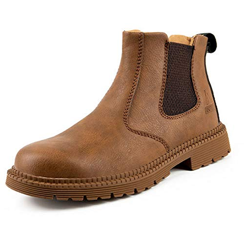 Zapatos de Seguridad Hombre, Botas de Seguridad para Hombre,Zapatos de Cuero con Punta de Acero Botas de Trabajo Impermeables y Transpirables Botas Zapatos Sin Cordones,Khaki-48