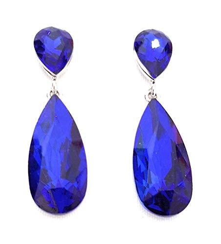 Pendientes Largos Mujer Bisutería Cristales de Colores Fiesta Boda Forma Lágrima Chapado Plata, Azul Zafiro