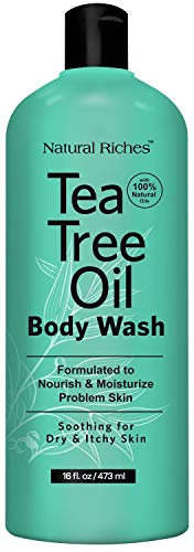Natural Riches Extra Strength Tea Tree Oil Skin Clearing Body Wash Hand Wash Peppermint Eucalyptus Oil Soap - Helps with Skin and Hair - Single Bottle of 16 Fl Oz