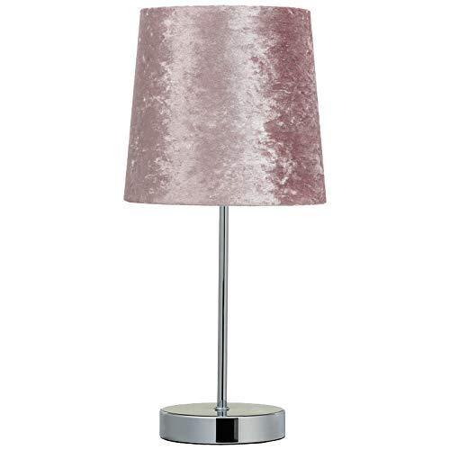 Crushed Velvet Table Lamp Bedside Tablelamp Shade & Base - Blush Pink