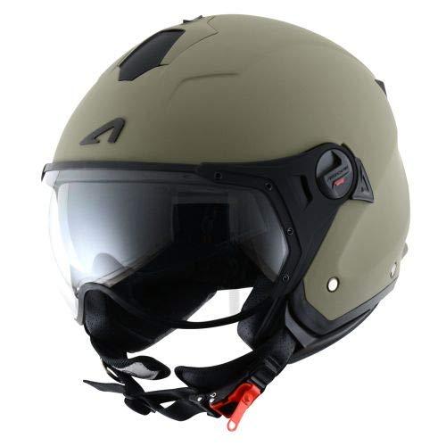 Astone Helmets - MINIJET S SPORT monocolor - Casque jet compact - Casque de moto look sport - Casque de scooter mixte - Casque en polycarbonate - Matt Army M