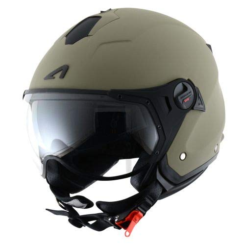 Astone Helmets MINISPORT-MARM Minijet Sport - Casco de motocicleta, Verde Mate, M