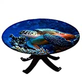 Round Tablecloth with Elastic Edges, Sea Turtle with Fishes and Coral Reef Underwater Ocean Turtle Design Fits Tables 48