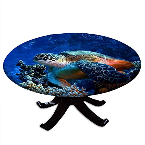 Round Tablecloth with Elastic Edges, Sea Turtle with Fishes and Coral Reef Underwater Ocean Turtle Design Fits Tables 48' - 52' Diameter