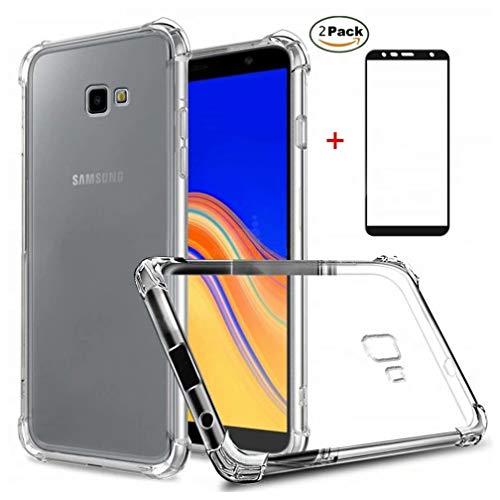 Funda Samsung Galaxy J4 Plus Ttimao Soft Transparente Silicona Diseño de cojín de Aire Protección contra caidas Ultra Delgada Anti-Shock TPU Cover+2*Protector de Pantalla de Vidrio Temperado