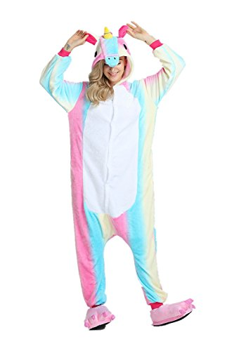 Rainbow Unicorn Schlafanzug Unisex Erwachsene Einhorn Pyjama Tier Flanell Cosplay Jumpsuits Kostüme Party Overalls Halloween Karneval Neuheit Schlafanzüge (Bunt, XL)