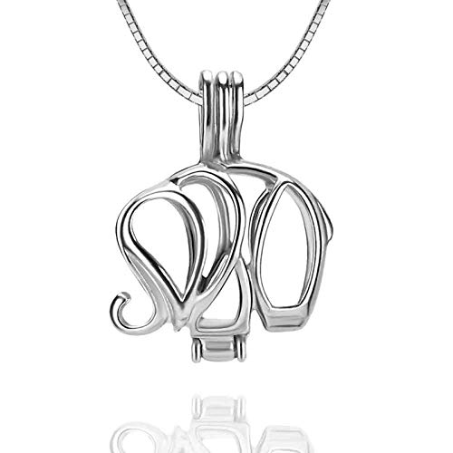 NY Jewelry 925 Sterling Silver Elephant Design Pearl Cage Locket Pendants for Women Jewelry Making