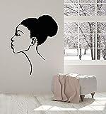 Hermosa Mujer Africana Etiqueta de la Pared Chica Cabeza Brote Cabello Estilo Africano Calcomanía de Vinilo Decoración Barbería Peluquería Mural