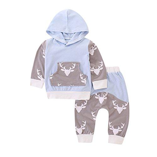 Hirolan Baby Strampler Neugeboren Babykleidung Säugling Baby Junge Mädchen Hirsch Pfeil Kapuzenpullover Lange Hülse Tops Täglich Hose Mode Outfits Kleider Set (80cm, Blau 2)