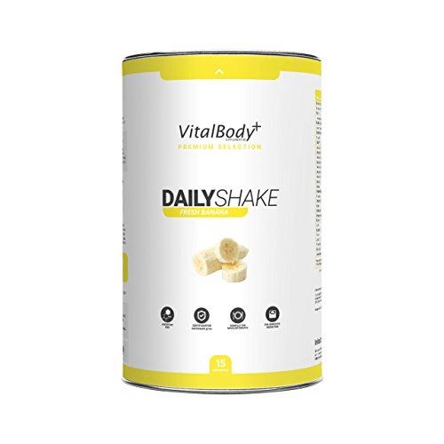 VitalBody+ Dailyshake Proteinpulver, Mahlzeitenersatz zum Abnehmen für Männer&Frauen, 15 Portionen Abnehmshake, zertifizierter Bananen Eiweißshake als Diät-Shake - Deutsche Premium Qualität