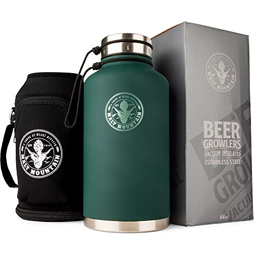 Malt Mountain Insulated Beer Growler, 64 oz, Double-Wall Stainless Steel, with Travel Bag - Vacuum Sealed Growlers for Cold Beer - 24 Hour Temperature and Carbonation - Drink Canister Jugs for Camping