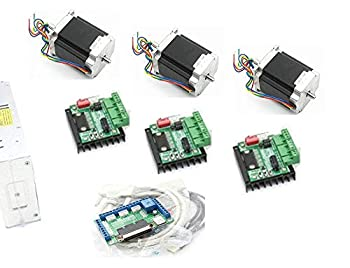 3 Axis CNC Kit Nema23 Stepper Motor Dual Shaft 270oz.in 76mm 3A+MD430 Driver+5 Axis Breakout Board Mach3 Controller Card+350W 24V DC Power Supply for CNC Router Engraving Milling Machine