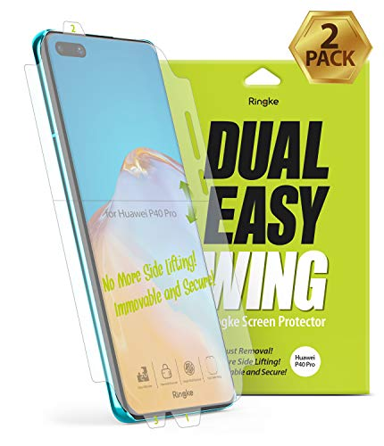 Ringke Dual Easy Wing Film Designed for Huawei P40 Pro Screen Protector, [2 Pack] Full Coverage High Resolution Easy Application Case Friendly Screen Protector for Huawei P40 Pro