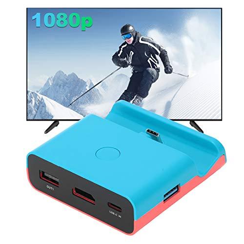 Wosune Conversor de vídeo HDMI interruptor livre suporte mecânico imagem mais clara base de carregamento fácil de carregar interruptor Lite para interruptor (azul vermelho)