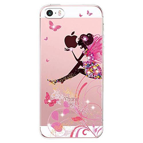 Alsoar Compatibile per Custodia iPhone SE 2016, Cover iPhone 5S /5 Silicone, Cover per iPhone 5s 5 SE Panda Case Silicone Trasparente Morbido Ultra Sottile Gel Protettiva Shock-Absorption (Farfalla)