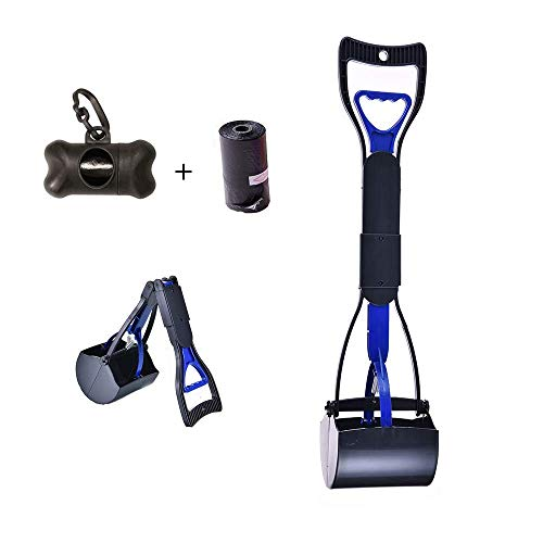 ZEENING Pet Pooper Scooper Long Handle Foldable Poop Scoop Shovel for Large & Small Dogs Waste Pick Up Jaw for All Surface, Waste Bags and Holder Included