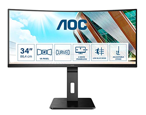AOC CU34P2A - 34 Zoll WQHD Curved Monitor (3440x1440, 100Hz, HDMI, DisplayPort, USB Hub) schwarz